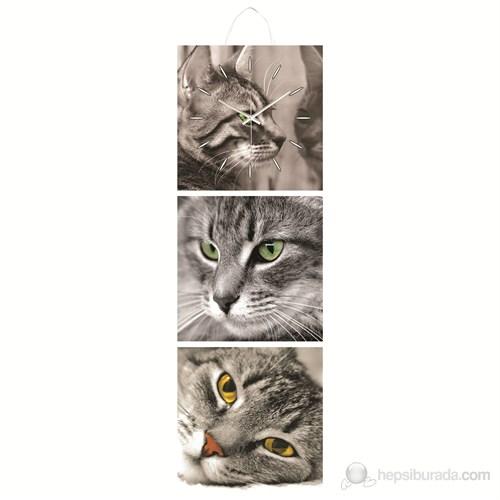 Kedi Mdf Üçlü Tablo Saat