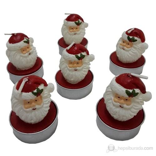 6 Lı Noel Baba Mum Seti