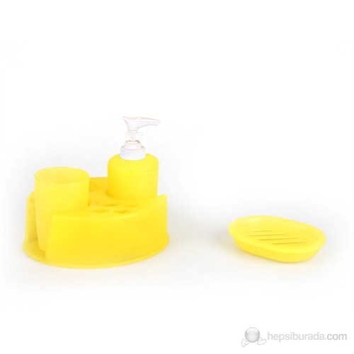 4'Lü Banyo Set Yuvarlak Seri Sarı