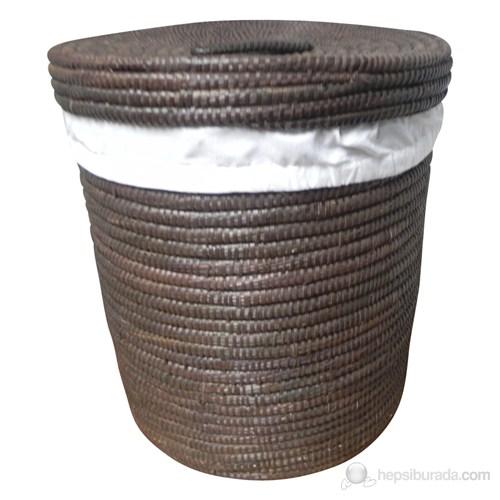 Çukulata Kahve Çamaşır Sepeti Palmiye Ağacı İçi Kumaşlı