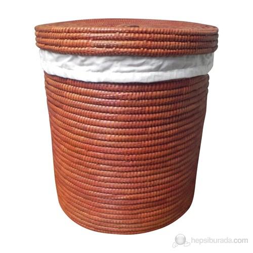 Kahverengi Çamaşır Sepeti Palmiye Ağacı İçi Kumaşlı