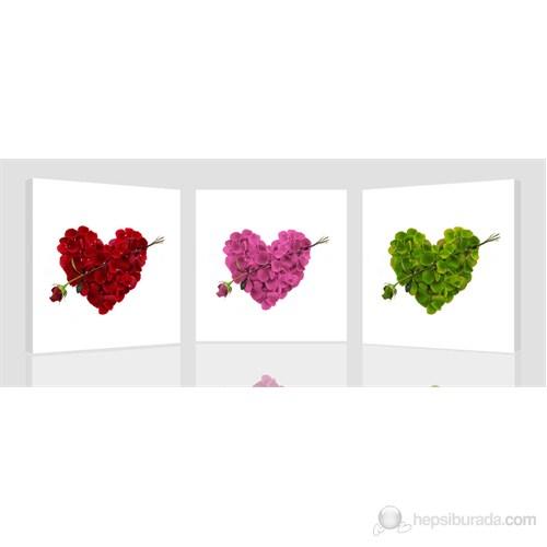 Renkli Kalpler Kanvas Tablo