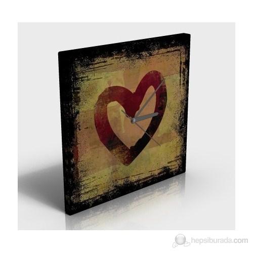 Kırmızı Kalp Kanvas Tablo Saat