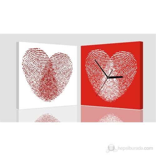 Kırmızı Parmak İzi Kanvas Tablo Saat