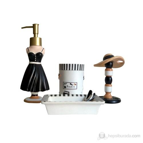 Kadın Figürlü Poliresin Banyo Set 4'lü