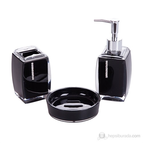 Siyah Taşlı Akrilik Banyo Seti 3'lü