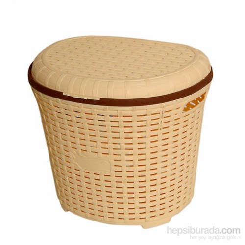 İstridye Çamaşır Sepeti Plastik Rattan - Krem