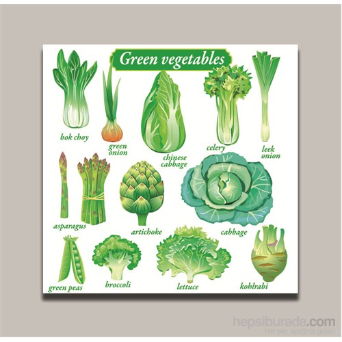 Dolce Home Dekoratif Yeşil Sebzeler Tablo