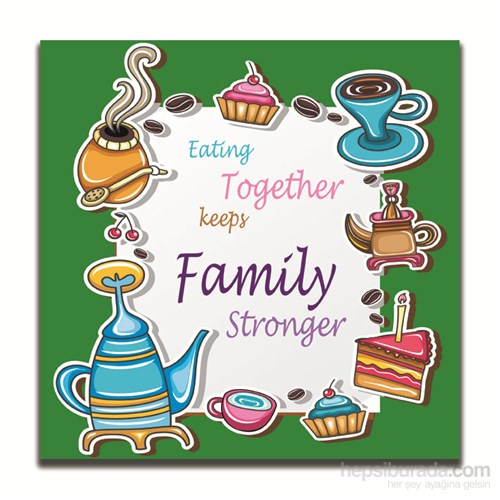 Dolce Home Dekoratif Aile ile Yemek Temalı Tablo 2