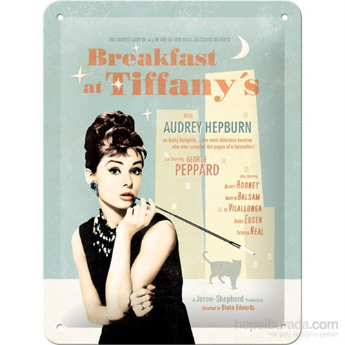Breakfast At Tiffany'S Blue Metal Kabartmalı Duvar Panosu