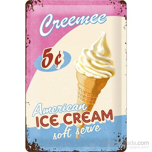 Ice Cream Metal Kabartmalı Duvar Panosu