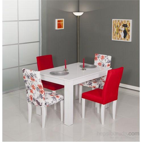 Moda Life Mobetto Manolya Masa Seti Kırmızı (Masa+4Adet Sandalye)
