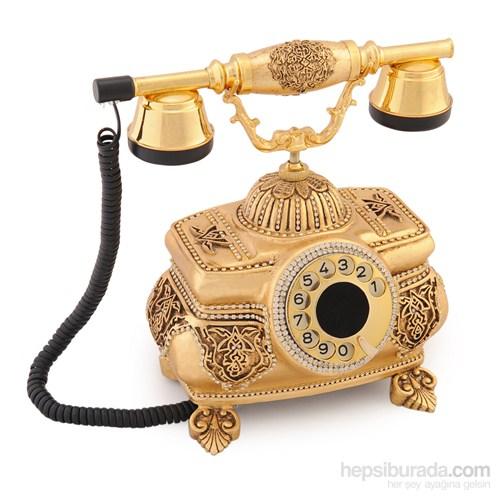 Kristal Altın Varaklı Zirkon Taşlı Telefon