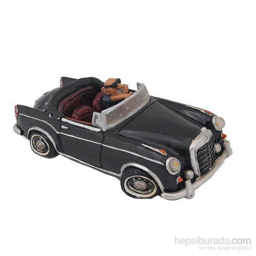 Siyah Üstü Açık Araba Figürlü Biblo