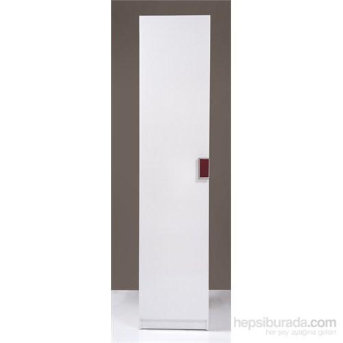Kenyap Stella Askılıklı Tek Kapaklı Sonsuz Gardırop 45 cm Parlak Beyaz
