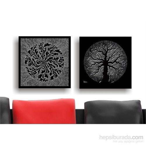 Siyah Beyaz Ağaç Ve Kökler Kanvas Tablo