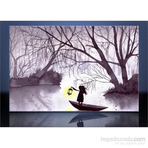 Göl Ve Sarı Işık Kanvas Tablo