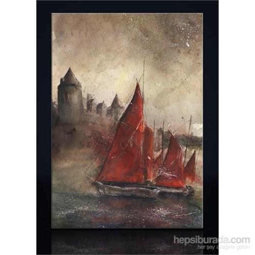 Kırmızı Yelkenli Kanvas Tablo