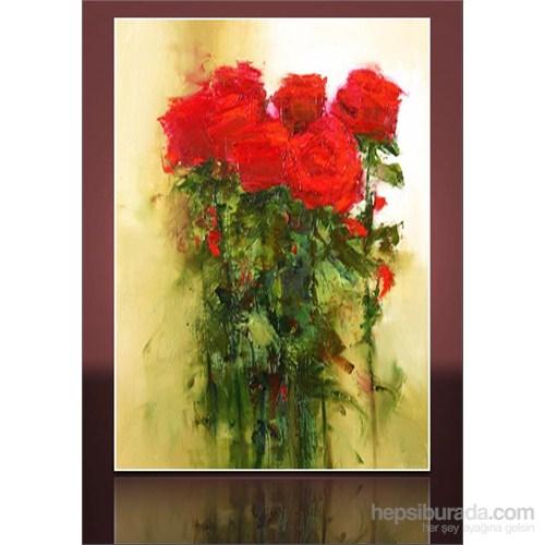 Yağlıboya Kırmızı Güller Kanvas Tablo