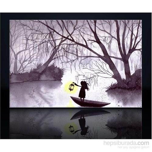 Küçük Kız Ve Göl Kanvas Tablo