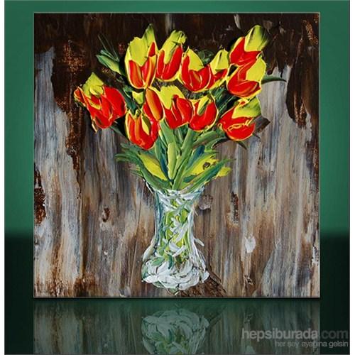 Vazoda Çiçekler Kanvas Tablo