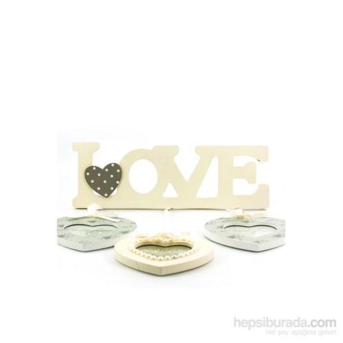 Love Yazılı 3Lü Kalp Ahşap Fotoğraf Çerçevesi
