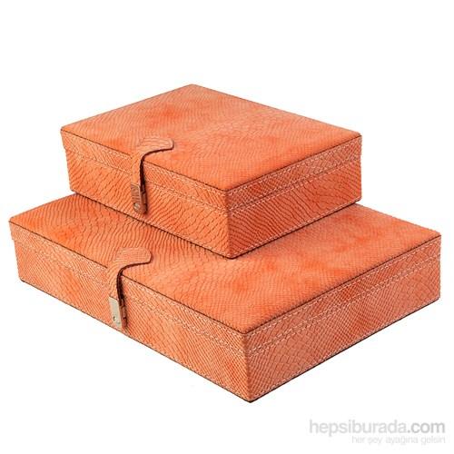 Dearybox Dört Bölmeli Deri Kaplamalı 2'Li Kutu