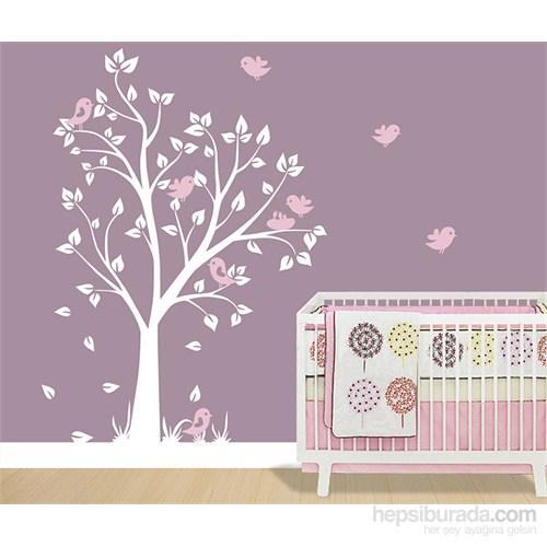 Bestasticker Beyaz Ağaç Pembe Kuşlar Sticker