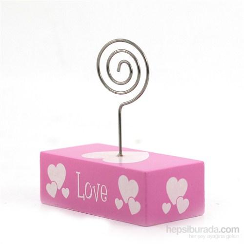 Love Motifli Pembe Love Kartvizit Tutacak