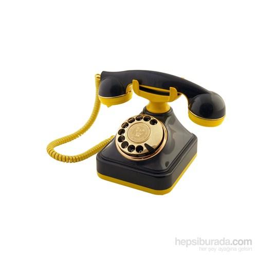 Anna Bell Sarı Lacivert Klasik Çevirmeli Telefon 1