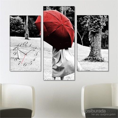 Tabloshop - Red Umbrella Tablo Saat - 81X60cm - Çerçeve Hediye