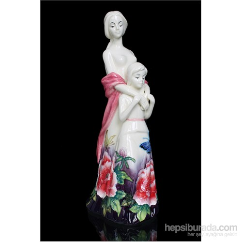 Pembe Elbiseli Kadın Figürlü Porselen Biblo