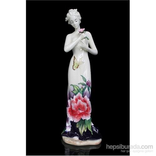 Pembe Güllü Kadın Figürlü Porselen Biblo