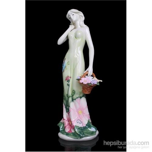 Yeşil Elbiseli Kadın Figürlü Porselen Biblo