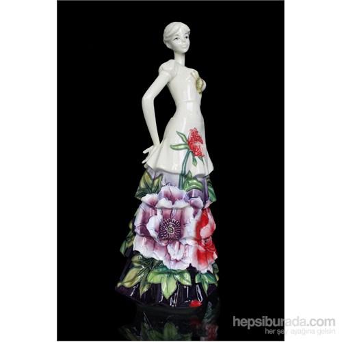 Elbiseli Kadın Figürlü Porselen Biblo