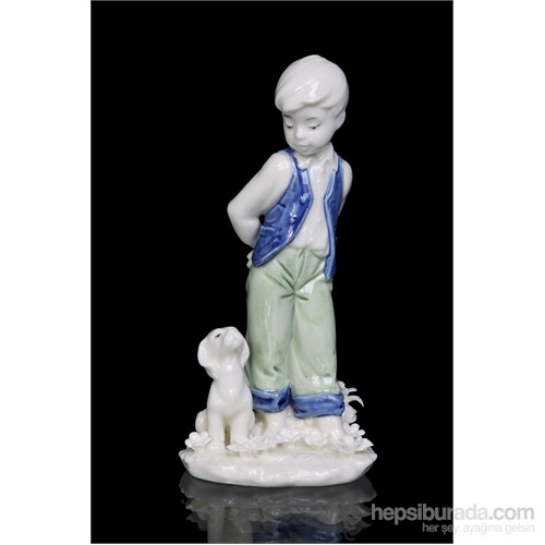 Erkek Çocuk Ve Köpeği Figürlü Porselen Biblo