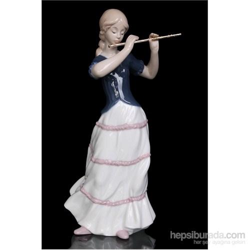 Yan Flüt Çalan Kız Figürlü Porselen Biblo