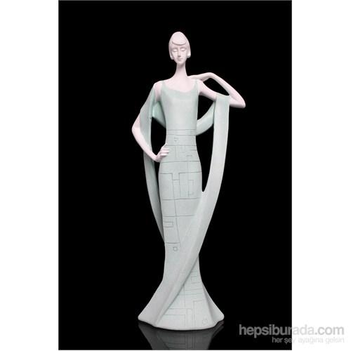 Uzun Elbiseli Kadın Figürlü Biblo