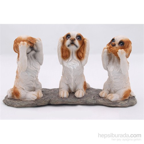 Üçlü Köpek Figürlü Biblo