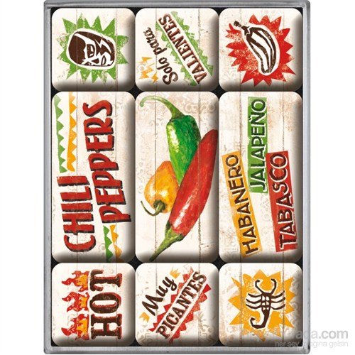 Chili Peppers Magnet Set (9 parça)