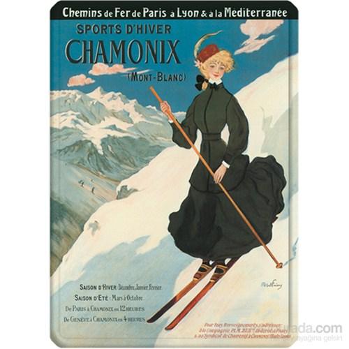 Metal Poster - Chamonıx Skıeuse - Faıvre 15X20cm.