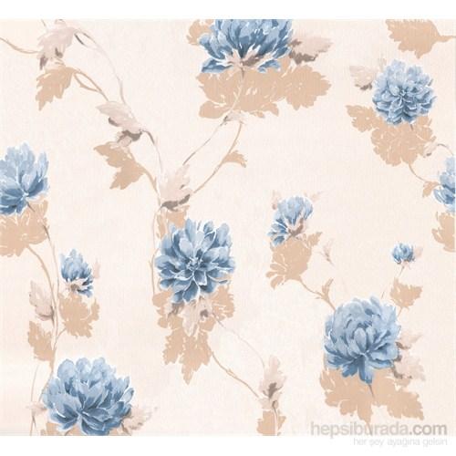 Emboss 221 Çiçek Mavi Duvar Kağıdı
