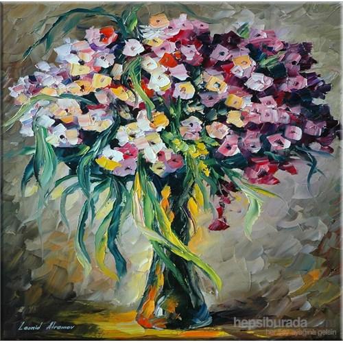 Yağlıboya Vazoda Çiçekler Kanvas Tablo