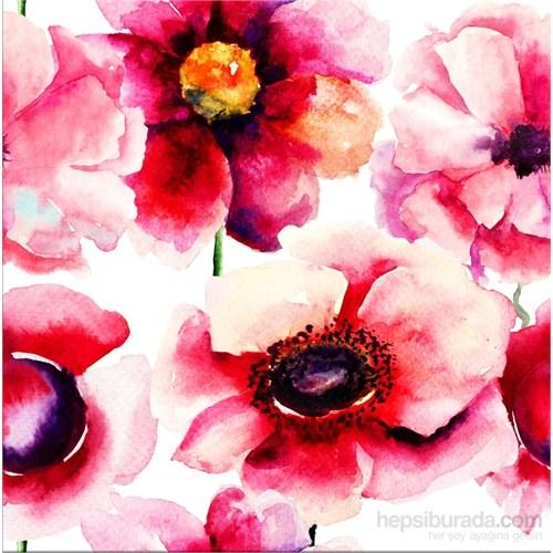Suluboya Pembe Çiçek Kanvas Tablo