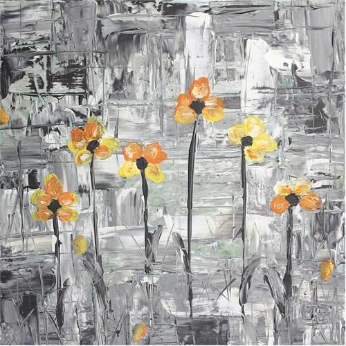Sarı Siyah Çiçek Kanvas Tablo