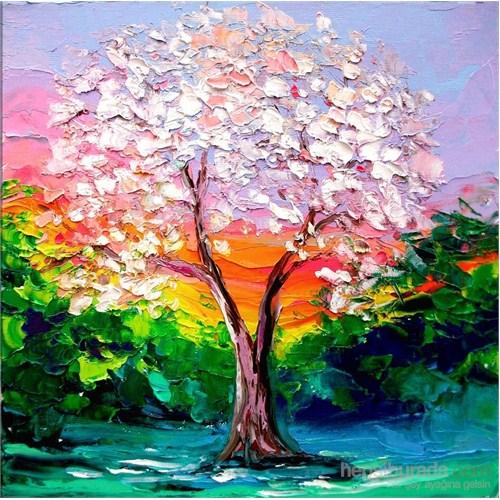 Beyaz Yapraklı Ağaç Kanvas Tablo