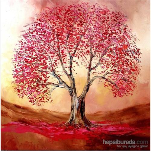 Kırmızı Yapraklı Ağaç Kanvas Tablo