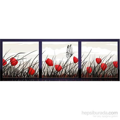 Kırmızı Gelincik Ve Kelebek Kanvas Tablo