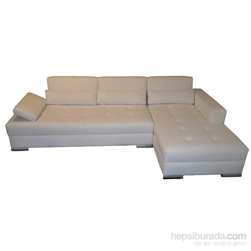 3A Mobilya White Leather Köşe Koltuk