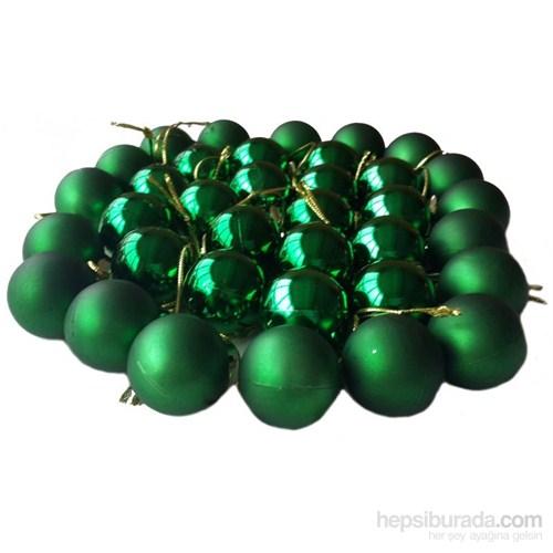 Yılbaşı 36 Lı Yeşil Renk Cici Top Süsler